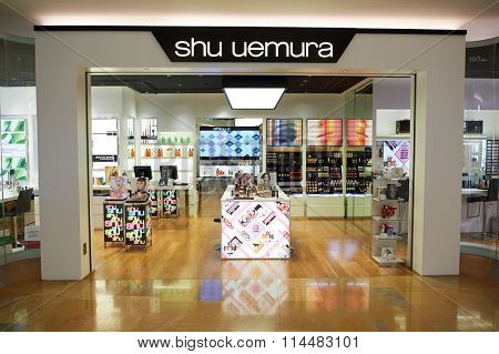 HONG KONG - DECEMBER 25, 2015: Shu Uemura store at shopping mall in Hong Kong. Shu Uemura was a Japanese make-up artist and founder of the cosmetics line which bears his name