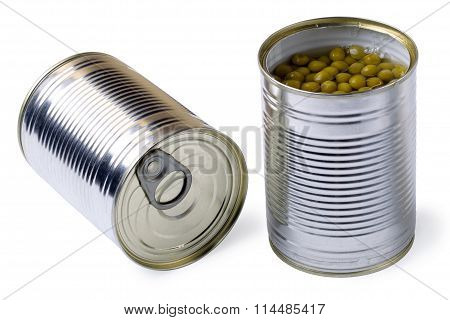 Opened Tin With Green Peas Isolated