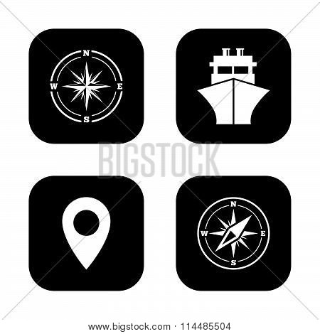 Windrose navigation compass, shipping delivery.