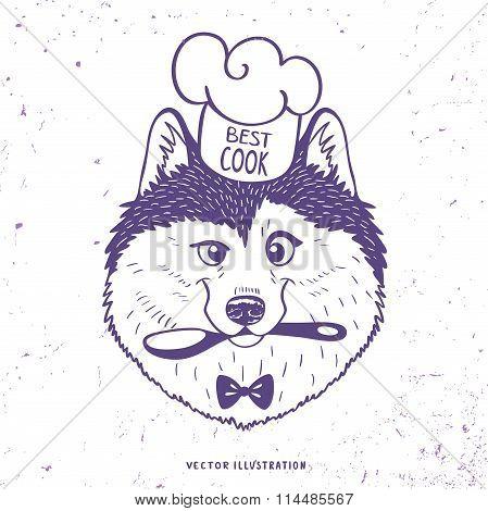 Husky silhouette cook