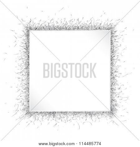 A square white paper frame over dynamic speckled background. Black and white with space for your text.