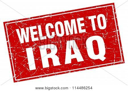 Iraq Red Square Grunge Welcome To Stamp