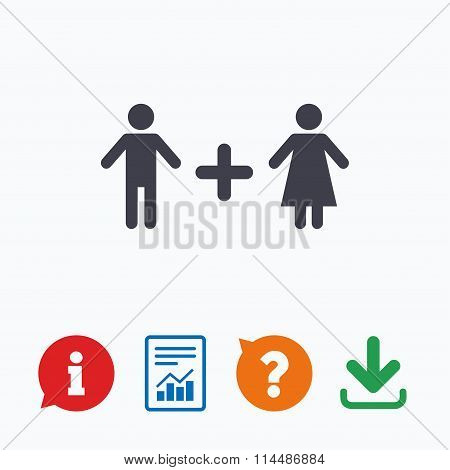 Couple sign icon. Male plus female. Lovers.