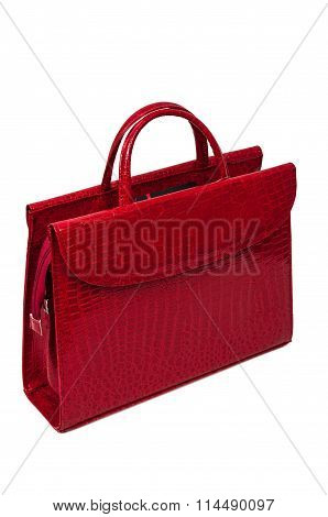Red Purse With Snake Skin Pattern.