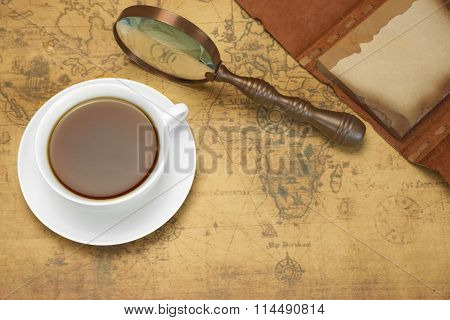 Travel Or Adventure Concept With Arrangement On The Old Map.