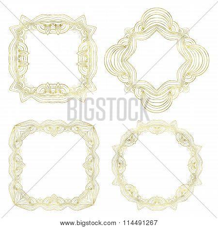 Set of 4 fantasy classic golden frames