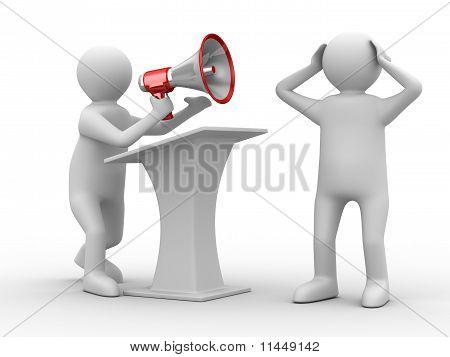 Orator Speaks In Megaphone. Isolated 3D Image