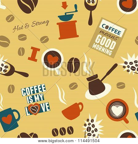 Seamless Coffee Background. Vector Illustration, Eps10