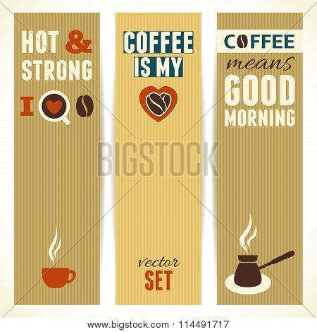 Vertical Coffee Theme Banners. Vector Illustration.