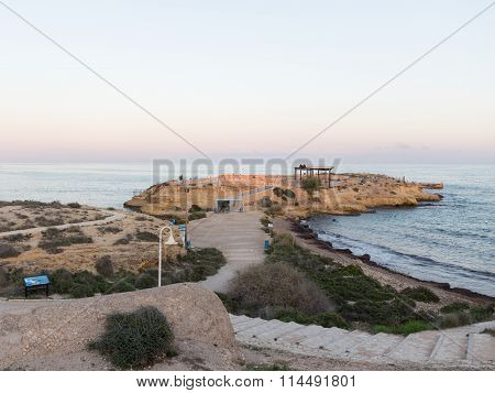 Rocky Beach At Sunset In Alicante
