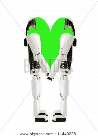 Two Robots Hold Hands With Green Heart
