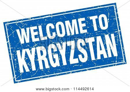 Kyrgyzstan Blue Square Grunge Welcome To Stamp