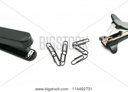 Staple Remover And Black Stapler On White