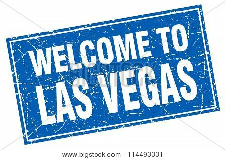 Las Vegas Blue Square Grunge Welcome To Stamp