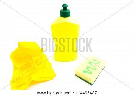 Yellow Sponge, Bottle And Rag