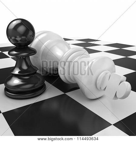 White pawn standing over fallen black king
