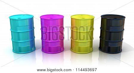 CMYK barrels. Concept of inkjet printing and desk book publishing