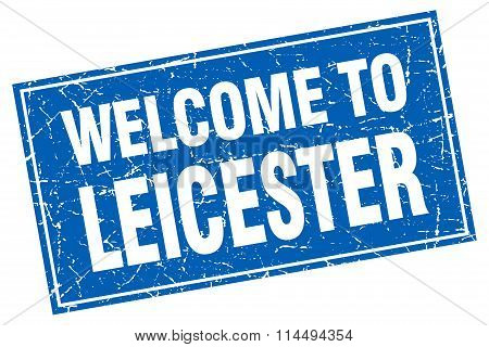 Leicester Blue Square Grunge Welcome To Stamp