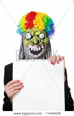 Funny Monster With White Blank Banner