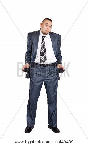 Poor Businessman With Empty Pockets