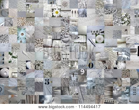 LIGHT GREY patchwork photo montage background