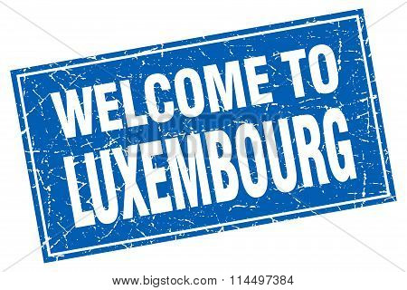 Luxembourg Blue Square Grunge Welcome To Stamp