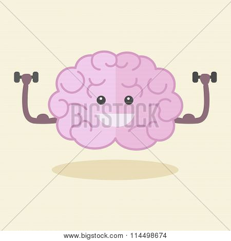 Brain training flat style vector illustration