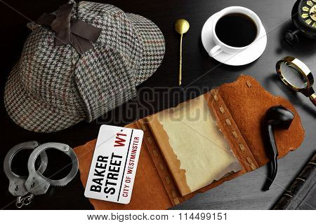 Sherlock Concept. Private Detective Tools On The Wood Table