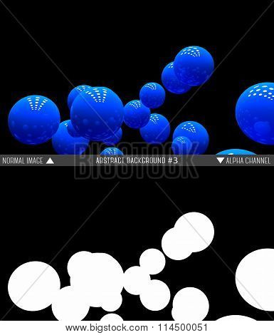 Abstract raster background of blue balls with alpha channel.