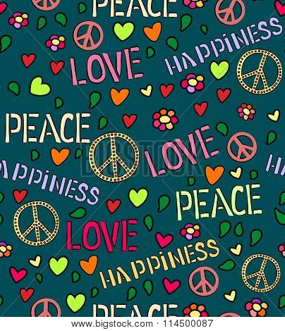 Seamless pattern with symbols of the hippie. love and peace color background