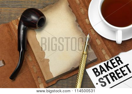 Private Detective Tools On The Wood Table