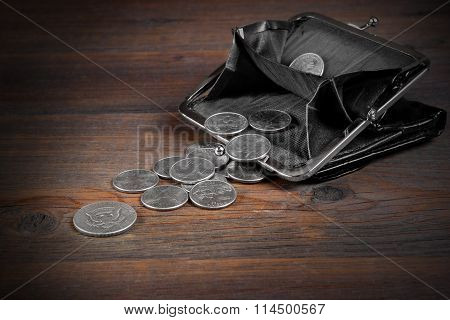 Open Male Black Leather Wallet With American Different Commemorative Coins