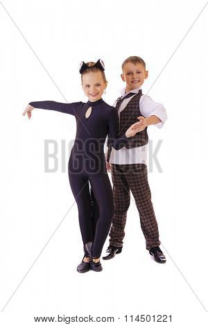 Dancing little girl dressed as a cat and a boy in a plaid vest, isolated on white background