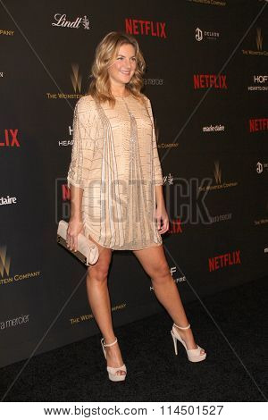 BEVERLY HILLS, CA - JAN. 10: Joanna Christie arrives at the Weinstein Company and Netflix 2016 Golden Globes After Party on Sunday, January 10, 2016 at the Beverly Hilton Hotel in Beverly Hills, CA.