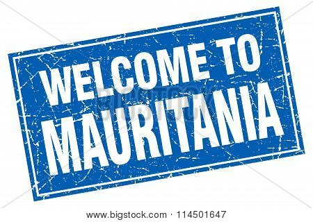 Mauritania Blue Square Grunge Welcome To Stamp