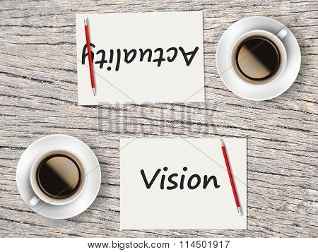 Business Concept : Comparison Between Vision And Actuality