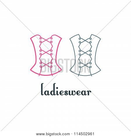 Corset Logo Design. Vector Isolated Linear Symbol. Womanly Wear Decorative Icon.