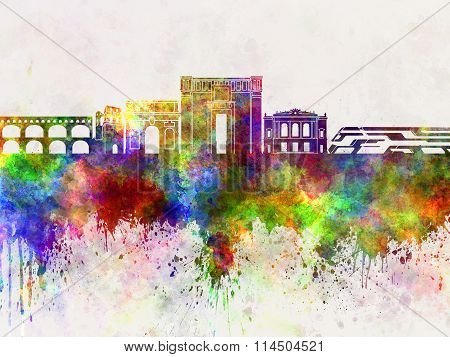 Montpellier Skyline In Watercolor Background