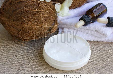 Coconut Body Cream On A Sackcloth
