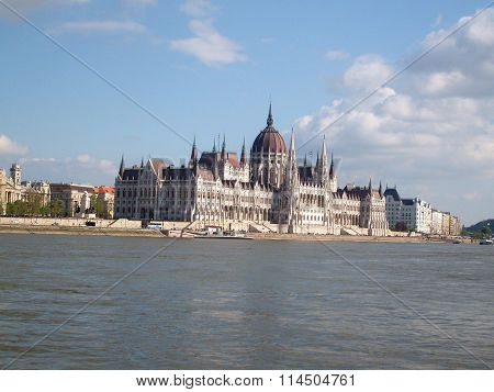 The Parliament in Budapest along the Danube river ( Hungary )