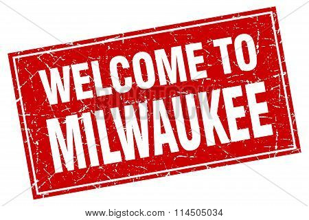 Milwaukee Red Square Grunge Welcome To Stamp