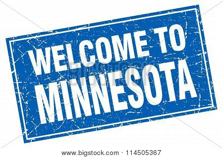 Minnesota Blue Square Grunge Welcome To Stamp