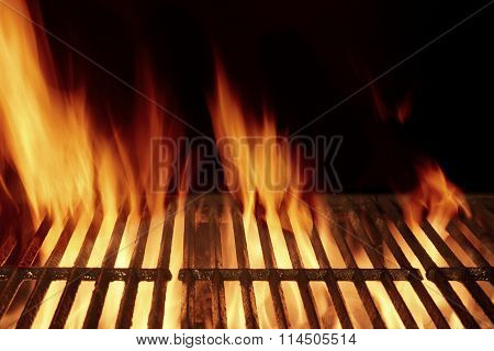 Empty Flaming Barbecue Grill Isolated On Black Background. Top View