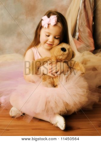Little Ballerina Beauty With Teddy Bear