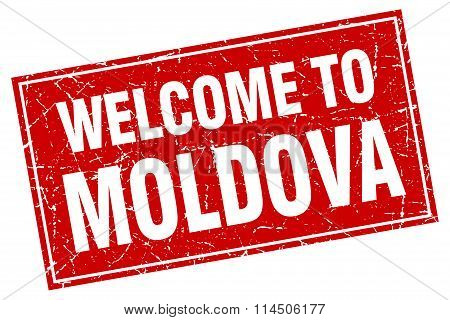 Moldova Red Square Grunge Welcome To Stamp