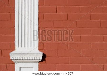 Red Painted Brick Wood Pillar