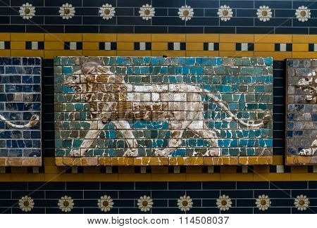 Lion On Babylonian Mosaic, Fragment Of The Ishtar Gate In Istanbul