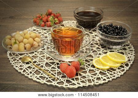 Glass Teacup, Retro Teaspoon, Bowls With Summer Berries And Honey