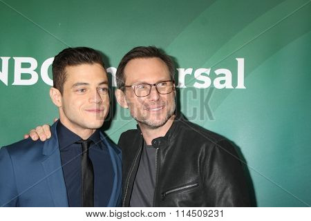 LOS ANGELES - JAN 14:  Rami Malek, Christian Slater at the NBCUniversal Cable TCA Press Day Winter 2016 at the Langham Huntington Hotel on January 14, 2016 in Pasadena, CA