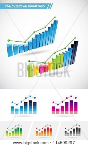 Vector illustration of colorful stat bars isolated on a white background